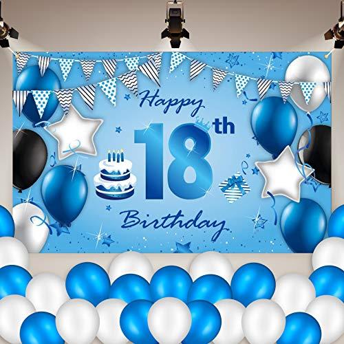 Heyu-Lotus Decoración para fiesta de 18º cumpleaños, grande, color azul, 18º cartel de cumpleaños (180 x 110 cm) y 50 globos para decoración de aniversario