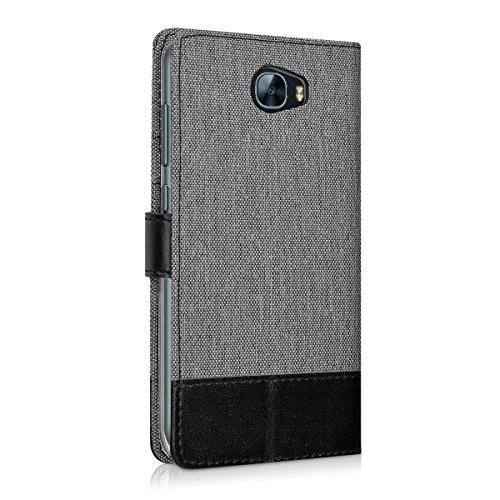 kwmobile Huawei Y6 II Compact (2016) Hülle - Kunstleder Wallet Case für Huawei Y6 II Compact (2016) mit Kartenfächern und Stand - Grau Schwarz - 3