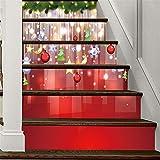Decoración de Navidad DIY 3D Escaleras pegatinas La Navidad Bell autoadhesivo Escalera Pegatinas-...