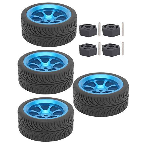 Meiyya Neumáticos de plástico Duro RC, neumático de llanta de Rueda RC con amortiguación Fuerte para WLToys 144001 1/14 Coche RC para Coche de Carreras en Carretera y Coche de Deriva para