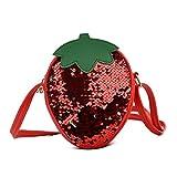 YWLINK Mochila Ligero Bolso Infantil Primavera Y Verano Mini Bandolera Linda Lentejuelas Fruta Messenger Bolsa Marea NiñOs Y NiñAs Accesorios Billetera Fiesta (13cm(W) X 17cm(H) X 5cm(T), Rojo)