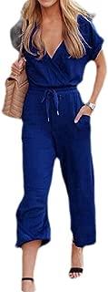 FSSE Women Short Sleeve V-Neck Drawstring Waist Wide Leg Jumpsuit Romper