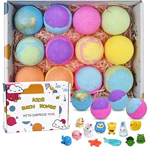 12 Bath Bombs for Kids with Toys Inside, Fizzies Organic Essential Oil Bath Bombs, Gentle and Kids Safe, Great for Spa & Bubble Bath Colorful &Scented, Handmade Bath Bombs Gift Set