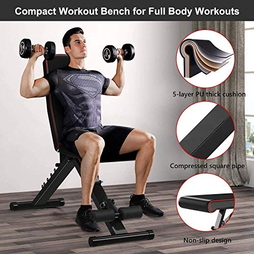 Product Image 2: Yoleo Adjustable Weight Bench, Upgrade Version- Seat/Back/Feet Adjustable, 550 lbs Capacity, Folding Flat/Incline/Decline FID Bench, Perfect for Full Body Workouts and Home Gym