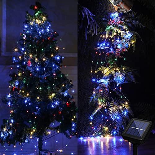 Luz de Manojo de 200 LED Luz Solar LED de 8 Modos de Parpadeo Luz de Alambre de Cobre con Control Remoto Luz de Regadera Solar para Suministros de Decoración de Navidad Jardín