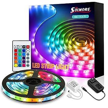 SOLMORE LED Strip Lights 16.4ft RGB LED Light Strip 5050 LED 5m Tape Lights Color Changing RGB LED Strips Lights with 24 Keys Remote 12V Power Supply LED Lights for Bedroom TV Backlight Kitchen Bar