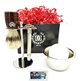 Deluxe Wet Shave Kit | Includes 6 Items: Safety Razor, Badger Hair Brush, Shave Stand, Shave Soap, Stainless Steel Bowl and 10 Razor Blades Men Gift Set for Him