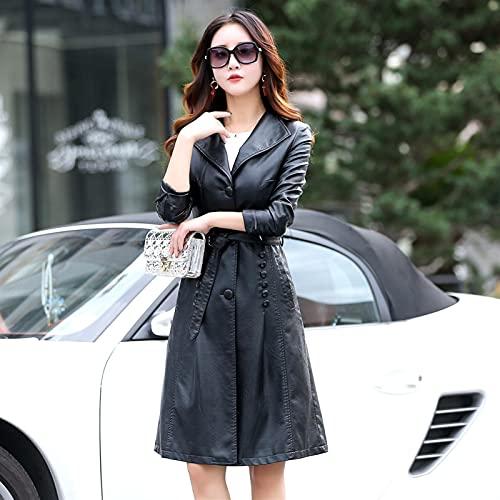 FASZFSAF Nueva Mujer Cuero PVC Largo GóTico Chaqueta Cuero Abrigo con CinturóN,Negro,M