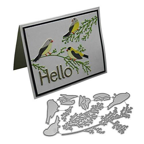 TankMR Plantilla de Molde de Metal de Plantilla de Dados de Corte de Metal de ramita de pájaro para DIY Álbum de Recortes Papel Fabricación de Tarjetas Plata