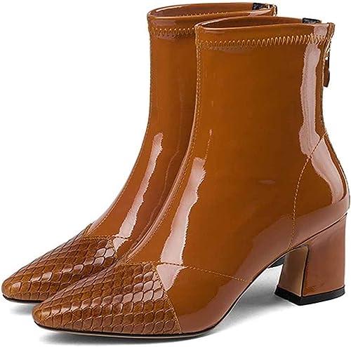 HWG-GAOYZ botas para mujer zapatos Martín De Cuero Cortas De Invierno con Tacón Alto Cálidas,marrón-35