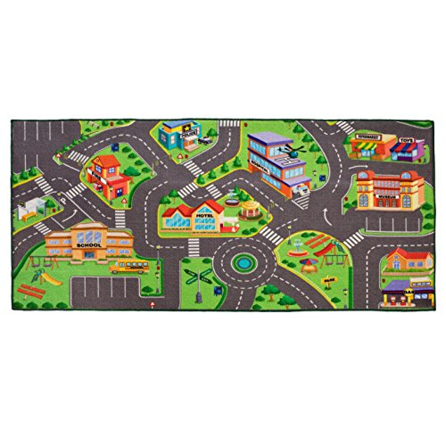 Kinder-Spielteppich für Rennen, waschbar, 91,4 x 182,9 cm, mit Rutschfester Unterseite und verstärktem Rand