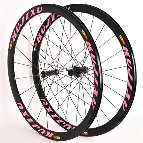 LSRRYD Laufradsatz Für Rennrad 700C Vorder- Und Hinterräder Alu-Doppelwandfelgen Abgedichtetes Lager C/V-Bremse QR 8 9 10 11S Kassettenschwungrad (Color : Pink)
