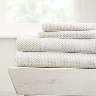 ienjoy Home 4 Piece Sheet Set Patterned, Queen, Stippled Light Gray