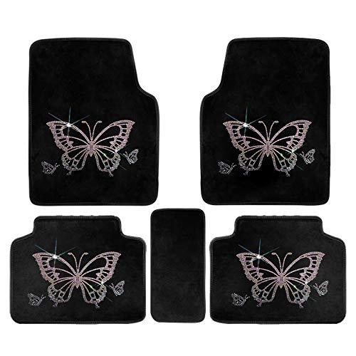 U So Shiny Black Car Floor Mat/ Foot Mats Cute, Colorful Diamond Butterfly Car Interior Decor for Women/Girls, 5 Pack/Set