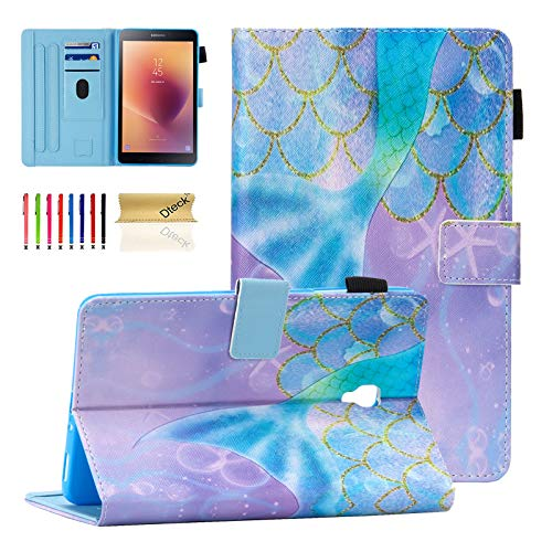 Dteck Case for Samsung Galaxy Tab A Tablet (8 Inch, 2017 Release, Model Number SM-T380 /SM-T385), Smart Stand Wallet Leather Protective Fold Cover with Auto Sleep Wake/Stylus Pen, Beautiful Mermaid