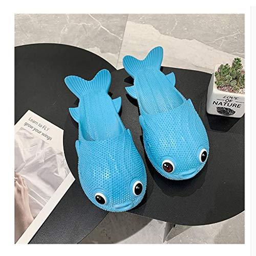 Pantuflas Peces Zapatillas Mujer Verano neto Celebrity tendencia Pequeño Puffer Zapatillas divertido creativo de desgaste interior y exterior entre padres e hijos Zapatillas Zapatillas de Playa Sandal