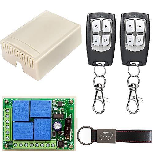 KASER Universal Empfänger 433,92 MHz für Garagentor Funkempfänger Automatische Tür Licht Rollladen Pumpenmotor Relais Selbstlernender 4 Kanäle DC 12V (enthalten 2 Fernbedienungen)
