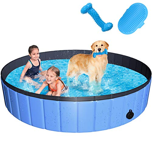 JUOIFIP Foldable Dog Pet Pool 63'x12' XXL Portable Pet Swimming Pool Kiddie Pool for Pets Hard Plastic Pet Bath Tub Indoor Outdoor Pool for Pets Large Dogs Cats and Kids (Bonus Brush+Chew Toy)