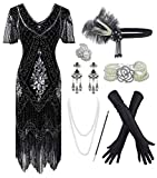 1920s Sequin Vintage Dress Beaded Gatsby Flapper Dress with Accessories Set (Small, Black&Silver) (Apparel)