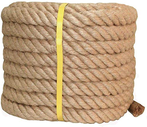 XBSXP Twisted Hemp Rope, 10 mm 15 mm 20 mm 25 mm 30 mm Thick Strong Solid Braid Jute Rope, Good for Tie, Pull, Swing, Climb and Knot,50m_10mm