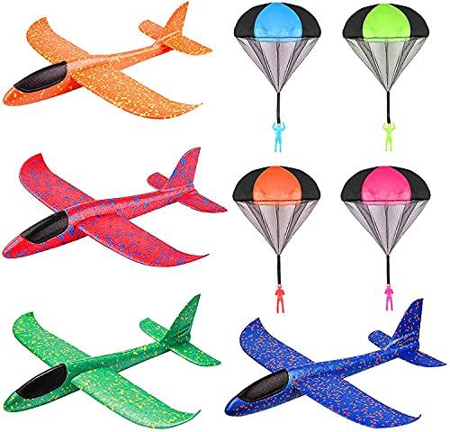 Sunshine smile 4 aviones de vela, 4 paracaídas para niños, de espuma, avión, lanzamiento manual, modelo de avión, juguete de deporte al aire libre, avión de vela para niños