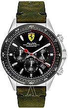 [フェラーリ] Ferrari メンズ Pilota クロノグラフ オリーブグリーン 防水 レザー 830433 腕時計 [並行輸入品]