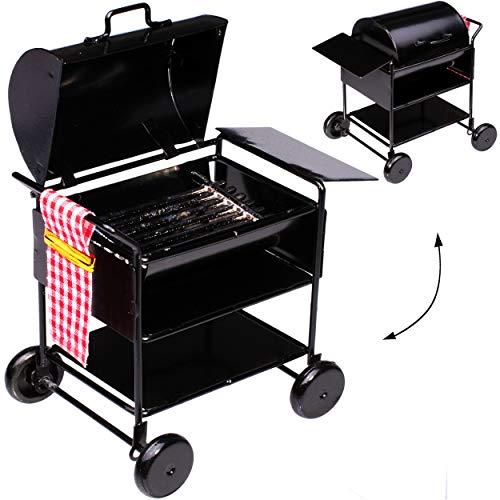 alles-meine.de GmbH Miniatur -  Grill / Grillwagen - BBQ mit Deckel  - aus Metall / Maßstab 1:12 - Diorama - Servierwagen - Barbecue - Garten Grillen - Kochen - Fleisch braten ..