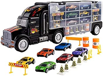 Toy Velt Car Carrier Transport Truck with 6 Toy Cars and Accessories