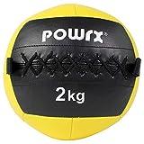 POWRX Wall ball Balón medicinal 2 kg - Ideal para ejercicios de »Functional Fitness«, fortalecimiento y tonificación muscular - Agarre antideslizante +...