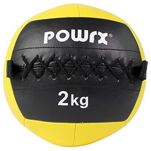 POWRX Wall ball Balón medicinal 7 kg - Ideal para ejercicios de »Functional Fitness«, fortalecimiento y tonificación muscular - Agarre antideslizante + PDF workout (Celeste Oscuro)