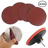 Welcomefee Kit di 12 dischi abrasivi da 12,5 cm per trapano smerigliatrice e utensili rotanti con platorello e albero