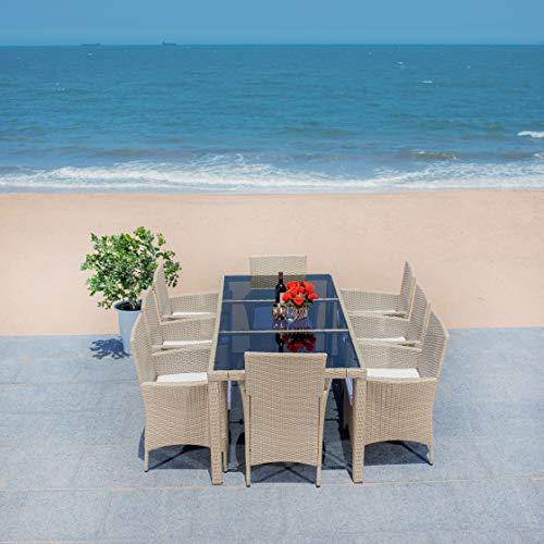 Safavieh Outdoor Collection Hailee Wicker 9-Piece Dining Set PAT7704B-4BX, Beige/White Cushion