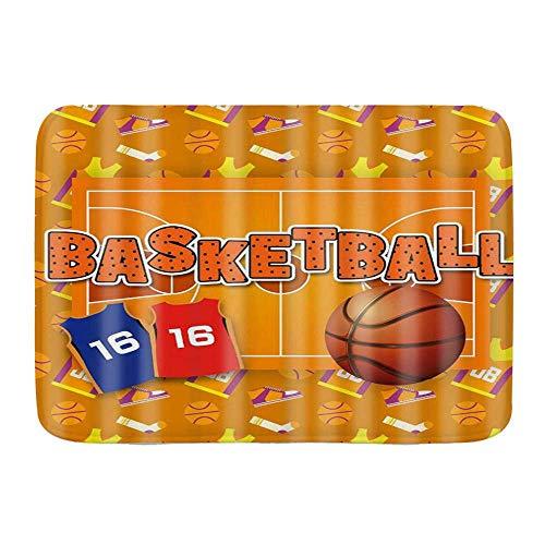 Fußmatten, Sport-Themen-Basketball-Sportbekleidung und -Schuhe Hintergrund, Küchenboden Badteppichmatte Absorbent Indoor-Badezimmer Dekor Fußmatte rutschfest