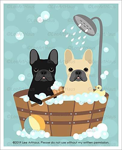 671D Two French Bulldogs in Bubble Bath Wooden Bathtub UNFRAMED Wall Art Print by Lee ArtHaus