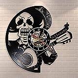 Día de los Muertos Reloj de pared con calavera musical Dia De Los Muertos Guitarrista Grabador de vinilo Reloj de guitarra Sugar Skull Decoración del hogar