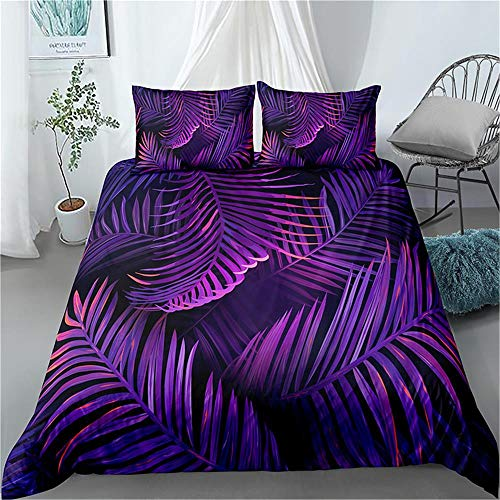 MENGBB Duvet Cover Set 3D Effect Palm leaves leaves purple simple 135x200cm Total 4 Size, give away pillowcase, Duvet Cover single bed with 2 Pillow Cases 50x75cm Microfiber Bedding Quilt Cover Set wi