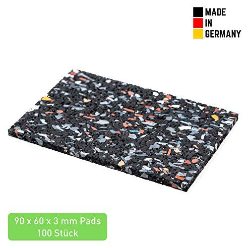 Terrassenpads 90 x 60 x 3mm (100 STK.) - Terrassen Pads aus Gummi - Unterlegpads aus Gummigranulat für Pool und Balkon - Gummipads für WPC Terrassendielen und Terrassenplatten - Schwarz