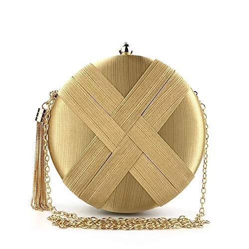 Candtong Europäische und amerikanische Luxusbankett Clutch Bag Streifen Seide Dinner Bag Brautkleid Kleine runde Tasche Lady Bag Bankett Clutch Bag Casual Ausflug lässig Wilde Tasche