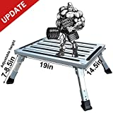 HELESIN RV-Folding-Step, 19' x 14.5' Aluminum Platform Step and Ladder Supports Up to 1,000lbs, Includes Non-Slip Rubber Feet, More Stable for Trailer, Motorhome, SUV, Camping
