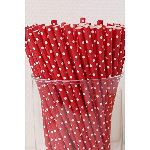 Papierstrohhalme Punkte 100 Stück rot/weiß-gepunktet, Party, Hochzeit, Cake-Pops-Stick, Geburtstag
