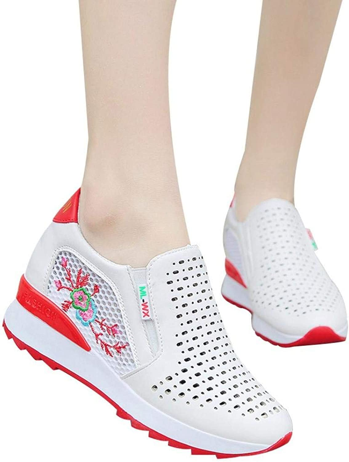 2018 Newest Girls Mesh Hollow Out Sneaker Inner Increase Casual Sports shoes Embroidered shoes (US 5.5, Red)