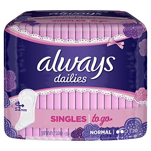 Always Dailies Singles to go térmico flexible/confortable/Pochette individual protège-slips 20piezas