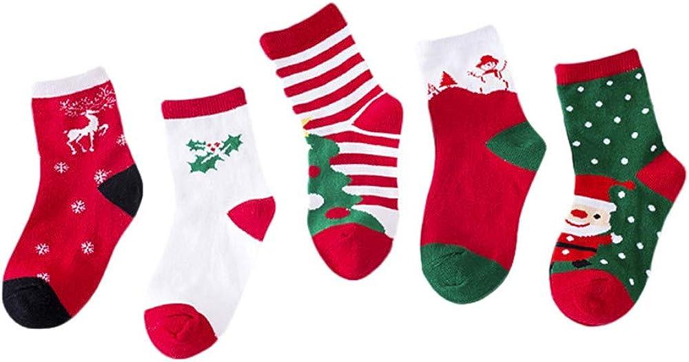 Baby Cute Christmas Socks,Fineser 5 Pair Cute Baby Girl Boy Kids Children Christmas Gift Casual Socks for 12M-12T