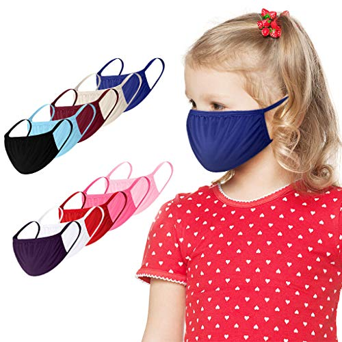 Yinella 10PCS Kids/Adults Washable Reusable Protective Mouth Cloth Cover Face Bandanas Childrens Outdoor School