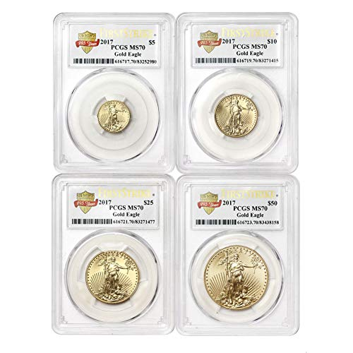 2017 4-Coin Gold American Eagle Set MS-70 PCGS (FS) by CoinFolio MS70