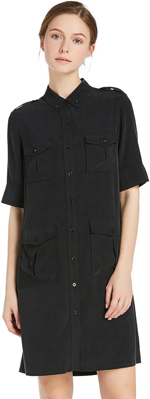 LilySilk Ladies Office Wear Short Sleeves T Shirt Black Dress
