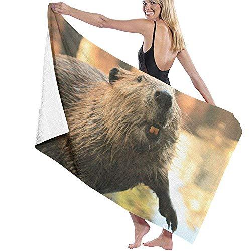 Badhanddoek Leuke Bever Water Microfiber Beach Handdoeken Sneldrogende Super Absorbens Handdoek voor Gym 80X130cm