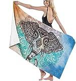 Toalla De Playa Elefante Mandala Toalla De Baño con Personalidad Súper Absorbente Toallas De Manta De Playa para El Hogar, Baño, Playa Y Piscina, 80X130Cm