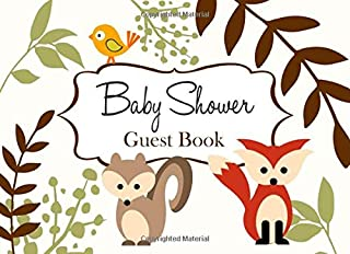 Baby Shower Guest Book: White Woodland Forest Animals Advice for Parents and Gift Log