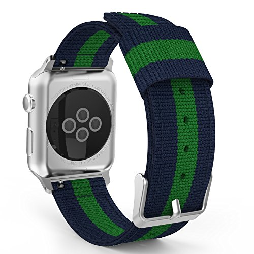 MoKo Band Compatible with Apple Watch 42mm 44mm Series 5/4/3/2/1, Fine Woven Nylon Adjustable Replacement Wristband Band Sport Strap Fit Apple Watch Nike 42mm 44mm, Blue & Green